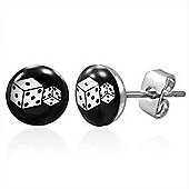 Urban Male Dice Design Stud Earrings For Men In Stainless Steel 7mm