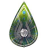 Iron Stop Designer Crystal Viridian Teardrop Wind Spinner 10in