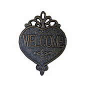 Decorative Cast Iron Heart Welcome Sign Plaque