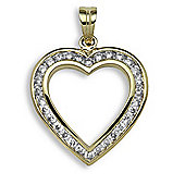 Jewelco London 9 Carat Yellow Gold 1ct Channel Set Heart