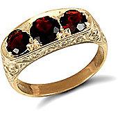 Jewelco London 9ct Solid Gold men's Garnet set 3 stone trilogy Ring