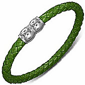 Urban Male Green Leather Plaited Bracelet 7mm With Magnetic Clasp