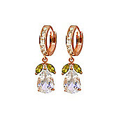 QP Jewellers Peridot & White Topaz Pear Drop Huggie Earrings in 14K Rose Gold