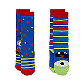 Mothercare Monster Welly Socks - 2 Pack Size 6-8.5 (2-4 yrs)