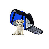 PawHut Pet Bag Travel Tote Carrier Safety Mesh Portable Folding Handbag Holder Kennel Crate Cage (Blue)