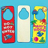 Wooden Door Hangers for Children (Pack of 6)