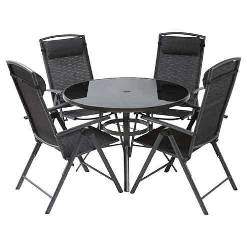 Valencia 106cm Round Glass Table & 4 Recliner Dining Set - Black