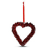 Red Cluster Bell Heart Shaped Hanging Decoration Medium