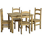 Budget Corona Mexican Dining Set 4 Chairs Distressed Waxed Solid Pine Finish