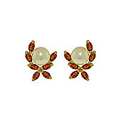QP Jewellers Garnet & Pearl Ivy Stud Earrings in 14K Gold