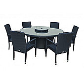 Rio (Armed) 6 Chairs And Large Round Table And Lazy Susan Set in Black