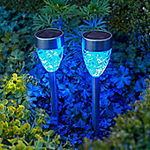 Set of 2 Blue LED Prism Solar Garden Stake Lights