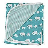 Pigeon Organics Reversible Blanket, Silhouette (Blue Elephant)