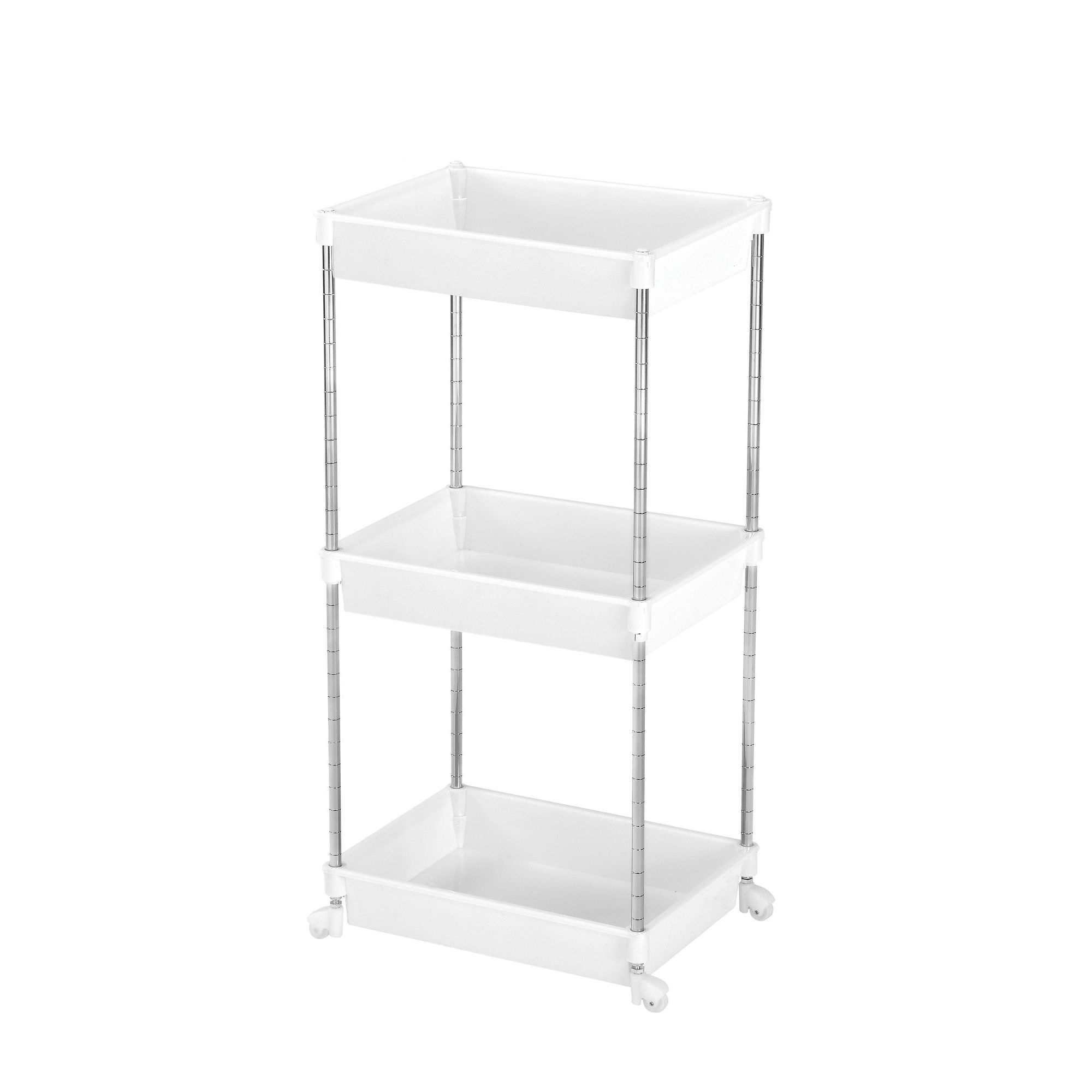 Premier Housewares 3 Tier Shelf Unit in Chrome / White