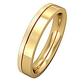 18ct Yellow Gold - 4mm Flat Court with Fine Groove Wedding Ring
