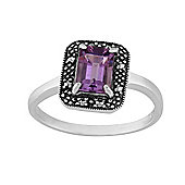 Gemondo Sterling Silver 0.75ct Amethyst & Marcasite Antique Style Cluster Ring