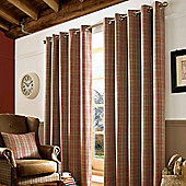 Homescapes Beige and Red Tartan Check Eyelet Curtains, 167cm x 228cm