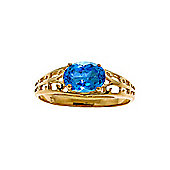 QP Jewellers 1.15ct Blue Topaz Catalan Filigree Ring in 14K Gold