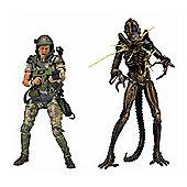 Aliens 7 Action Figure 2pk Hudson Vs Brown Warrior - Action Figures