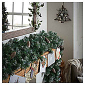 Frosted Christmas Garland with Cones, 9ft