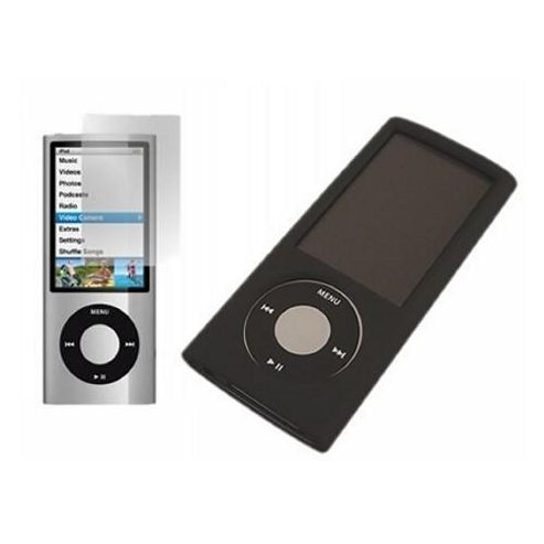 iTALKonline 5105 Black Hybrid Case + LCD Screen protector and Cleaning Cloth Apple iPod Nano 5G - Black