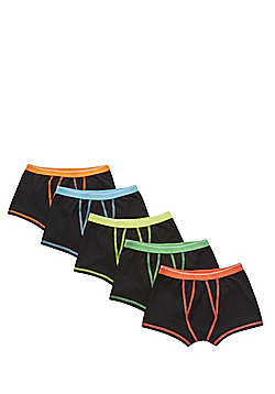 F&F 5 Pack of Neon Trim Trunks - Black