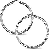 Jewelco London Sterling Silver Twist Hoop Earrings - 5mm
