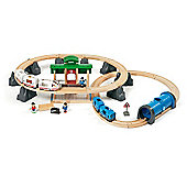 Brio Wooden Railway Metro City 54-Piece Train Set