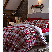Catherine Lansfield Home Cosy Corner Brushed Cotton Tartan Stripe Pillowcase Red