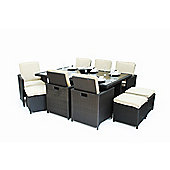 Maze Rattan 7 Piece Cube Set with Footstools - Mixed Chocolate