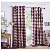 "Galloway Check Lined Eyelet Curtains W117xL137cm (46x54"") - - Wine"