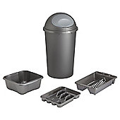 Tesco 4pc Kitchen Set Bullet Bin Set - Platinum