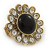 'Diva Blossom' Crystal and Ceramic Flower Ring in Gold Tone - Adjustable size 7/8
