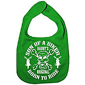 Dirty Fingers Son of a Biker Daddy's Original Born to Ride Bib Green