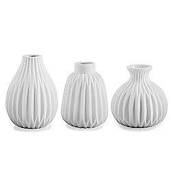 'Cordelia' Contemporary White Porcelain Bud Vase Trio