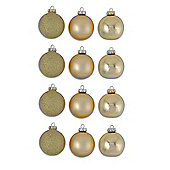 Set Of Twelve Glass Christmas Tree Baubles in Gold