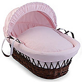 Clair de Lune Dark Wicker Moses Basket (Soft Cotton Waffle Pink)