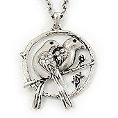 Burn Silver 'Love Birds' Pendant Necklace - 62cm Length/ 4cm Extension