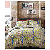 HASHTAG Bedding Map Duvet Cover and Pillowcase Set, - Multi