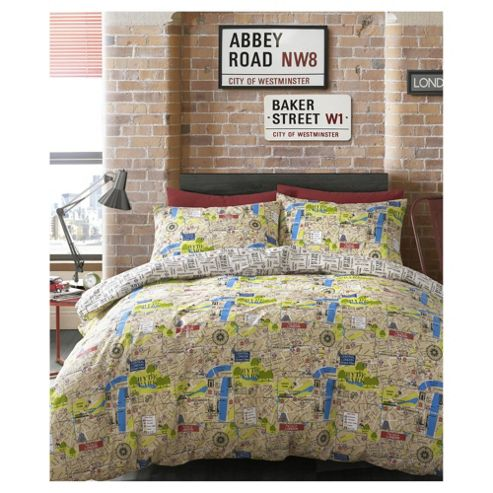 HASHTAG Bedding Map Duvet Cover and Pillowcase Set, King Size