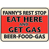 Fanny's Rest Stop Tin Sign
