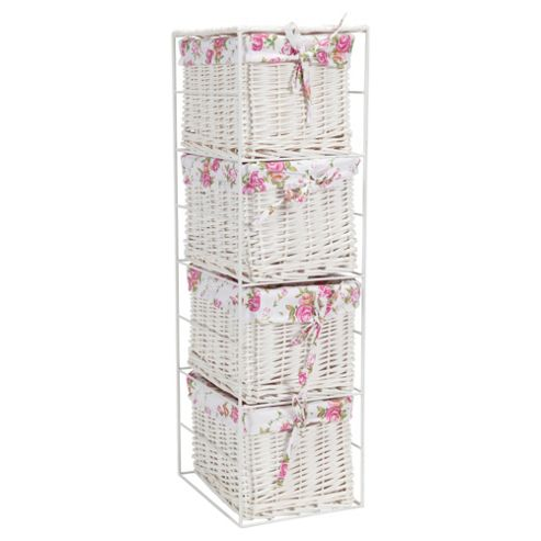 Tesco White Wicker Lined Small Drawer Tower