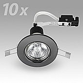 Pack of 10 MiniSun Recessed GU10 Downlights in Black Chrome