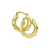 Jewelco London 9ct Yellow Gold - Faceted Creole Earrings -