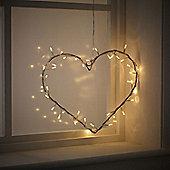 Heart Fairy Light Wreath With 40 Clear Bulbs