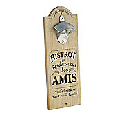 Wall Mountable Wooden Plaque with Bottle Opener - 'Bistrot'