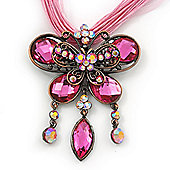 Pink Diamante 'Butterfly With Tail' Cotton Cord Pendant Necklace In Bronze Metal - 38cm Length/ 8cm Extension