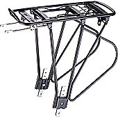Acor 24-28inch Alloy Rear Pannier Rack. Black, With Spring Clamp & Reflector Bracket