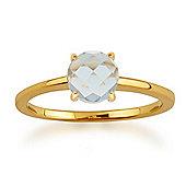 Gemondo Amour Damier 9ct Yellow Gold 0.70ct 4 Claw Set Checkerboard Aquamarine Ring