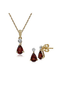 Gemondo 9ct Yellow Gold Garnet & Diamond Pear Stud Earring & 45cm Necklace Set